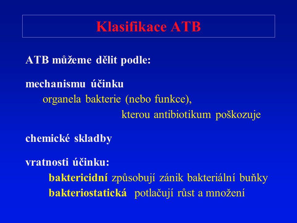 Klasifikace ATB ATB můžeme dělit podle: mechanismu účinku
