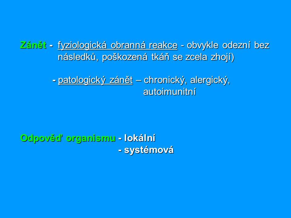 Zánět - fyziologická obranná reakce - obvykle odezní bez následků, poškozená tkáň se zcela zhojí) - patologický zánět – chronický, alergický, autoimunitní Odpověď organismu - lokální - systémová
