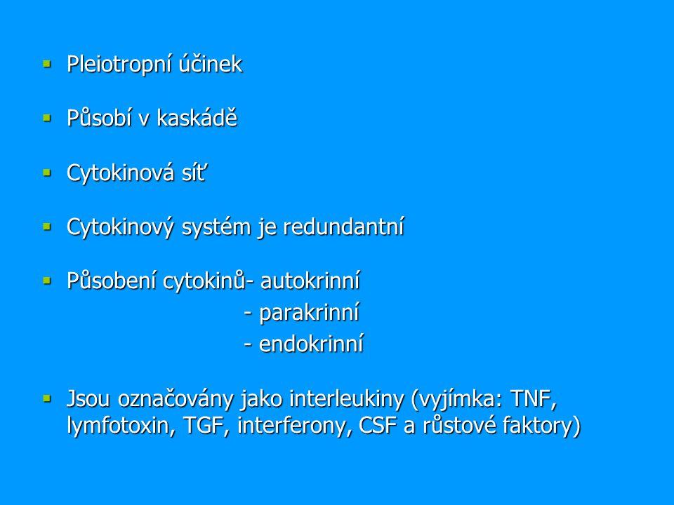 Pleiotropní účinek Působí v kaskádě. Cytokinová síť. Cytokinový systém je redundantní. Působení cytokinů- autokrinní.