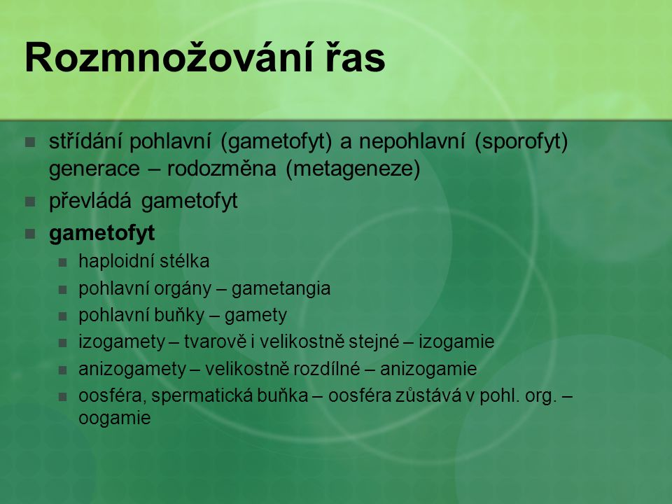 Rozmnožování řas střídání pohlavní (gametofyt) a nepohlavní (sporofyt) generace – rodozměna (metageneze)