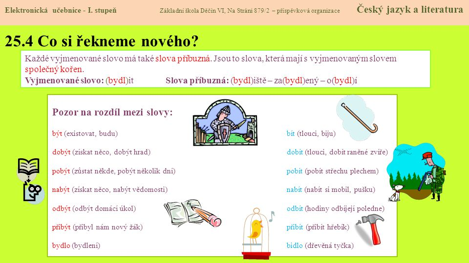 25.4 Co si řekneme nového Pozor na rozdíl mezi slovy: