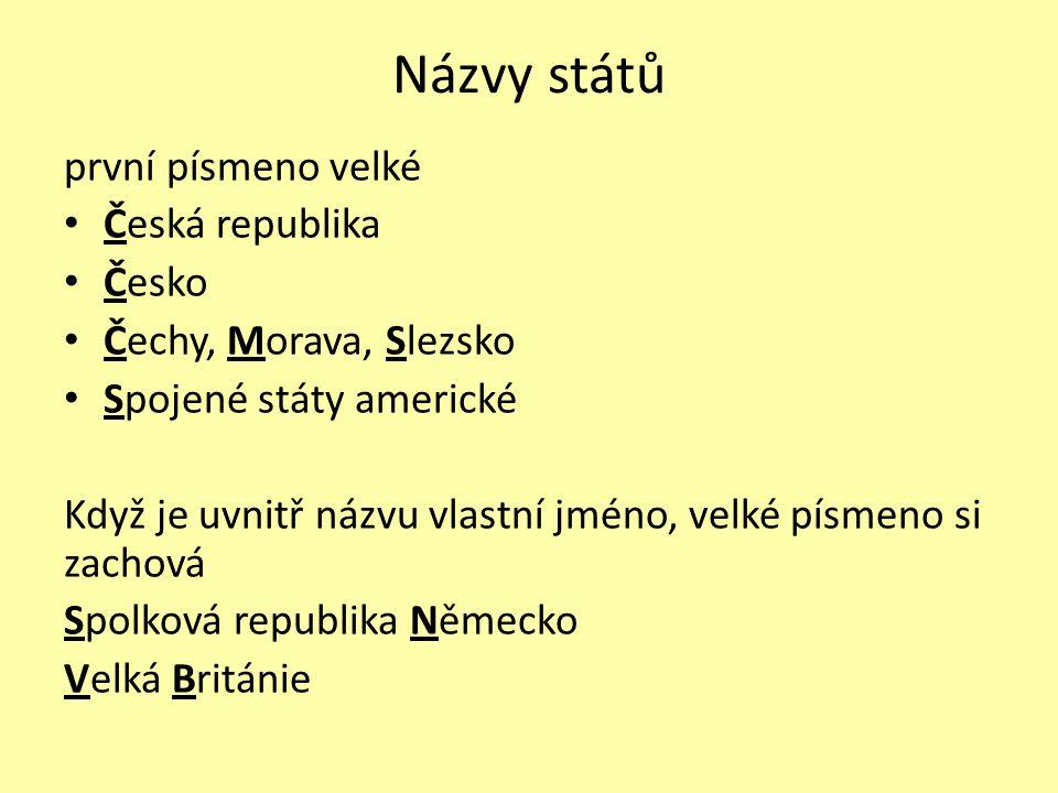 Názvy států první písmeno velké Česká republika Česko