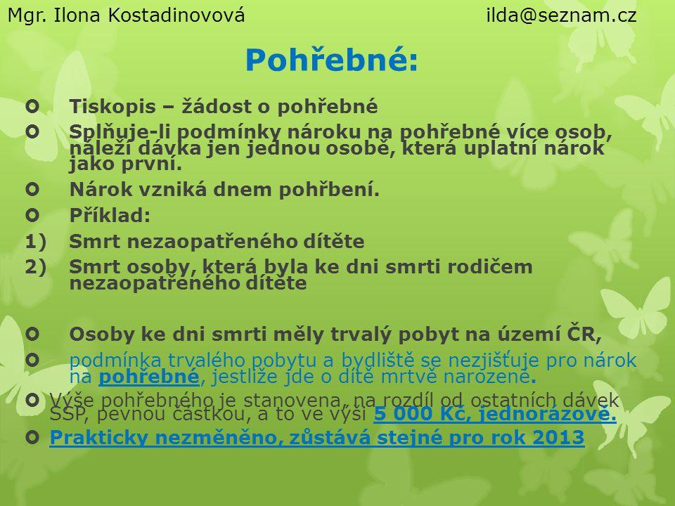 Pohřebné: Mgr. Ilona Kostadinovová ilda@seznam.cz