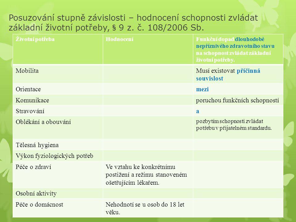 Posuzování stupně závislosti – hodnocení schopnosti zvládat základní životní potřeby, § 9 z. č. 108/2006 Sb.