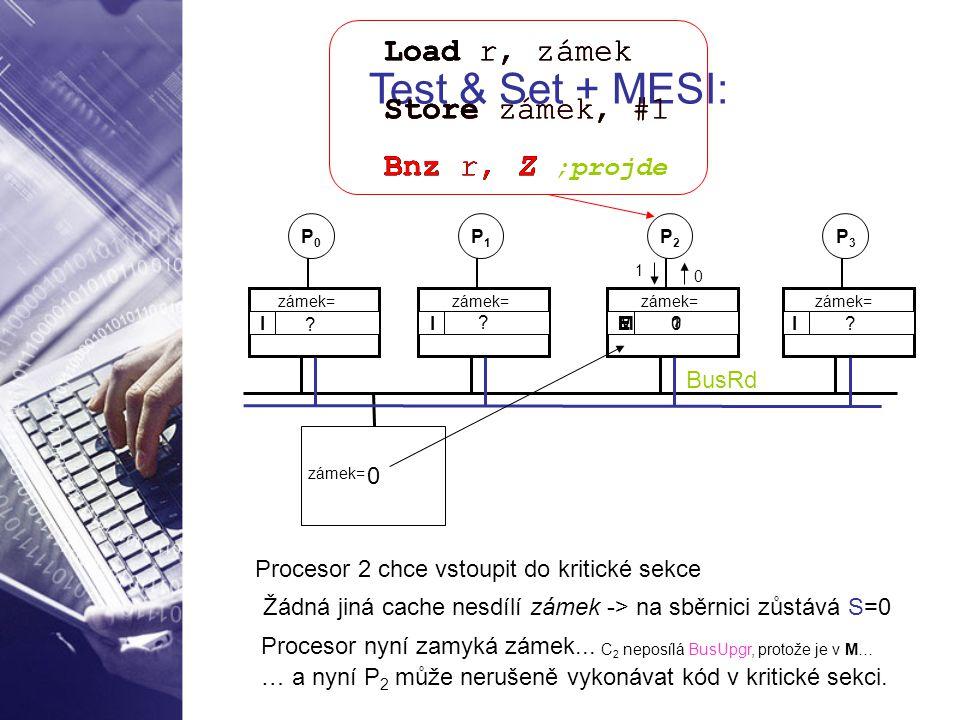 Test & Set + MESI: Load r, zámek Store zámek, #1 Bnz r, Z