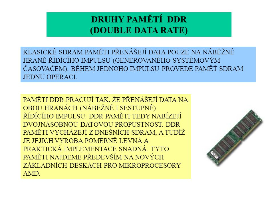 DRUHY PAMĚTÍ DDR (DOUBLE DATA RATE)
