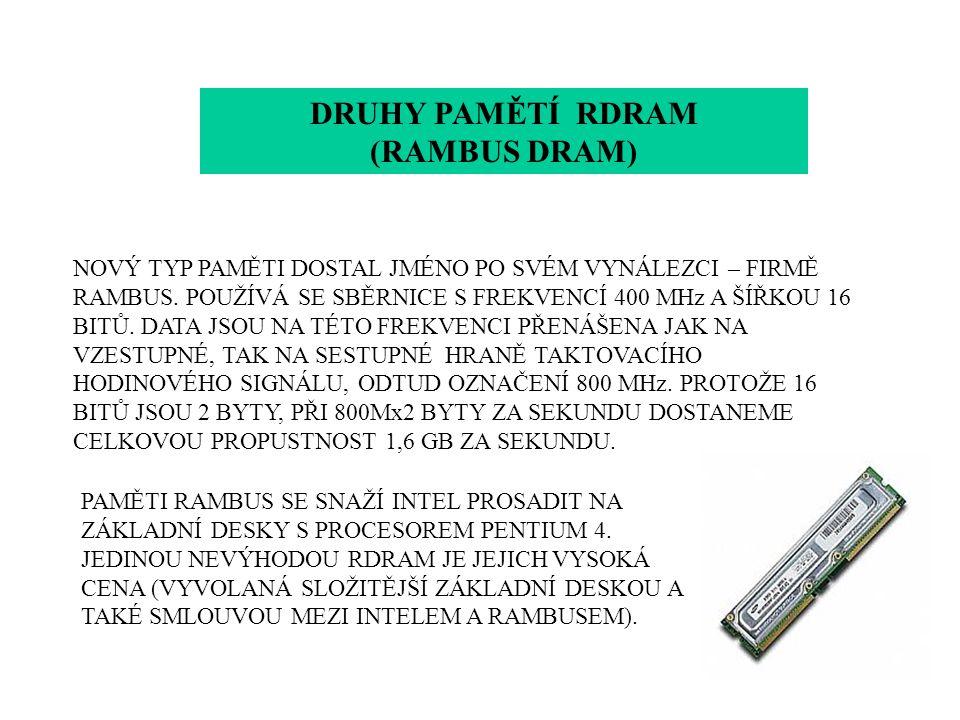 DRUHY PAMĚTÍ RDRAM (RAMBUS DRAM)
