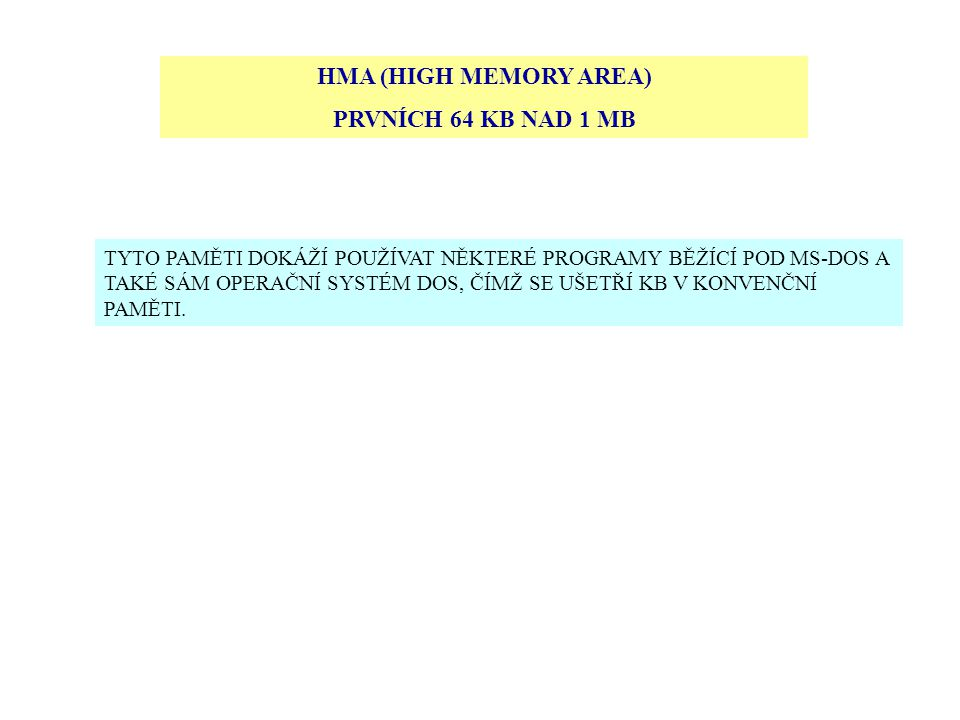 HMA (HIGH MEMORY AREA) PRVNÍCH 64 KB NAD 1 MB