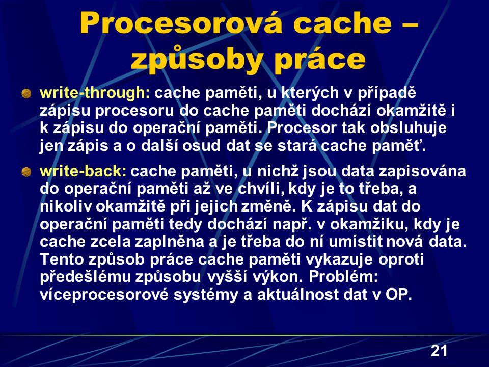 Procesorová cache – způsoby práce