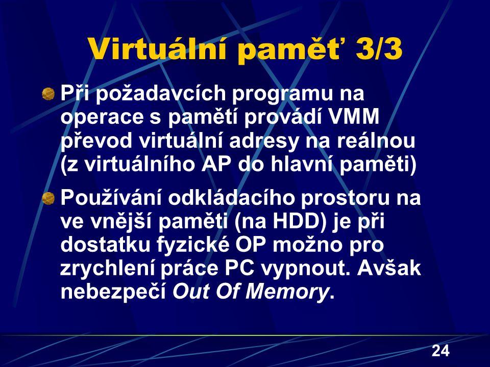 Virtuální paměť 3/3 Při požadavcích programu na operace s pamětí provádí VMM převod virtuální adresy na reálnou (z virtuálního AP do hlavní paměti)