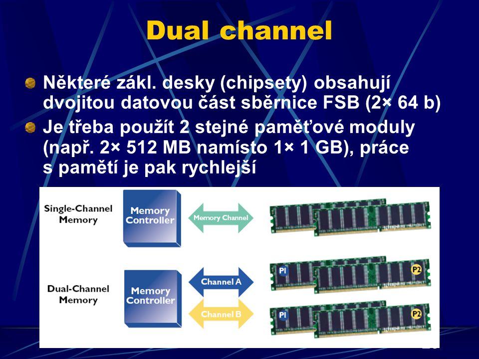 Dual channel Některé zákl. desky (chipsety) obsahují dvojitou datovou část sběrnice FSB (2× 64 b)