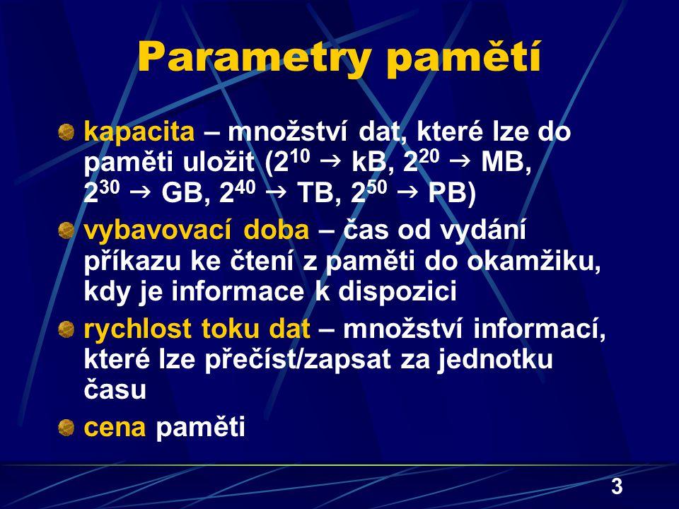 Parametry pamětí kapacita – množství dat, které lze do paměti uložit (210  kB, 220  MB, 230  GB, 240  TB, 250  PB)