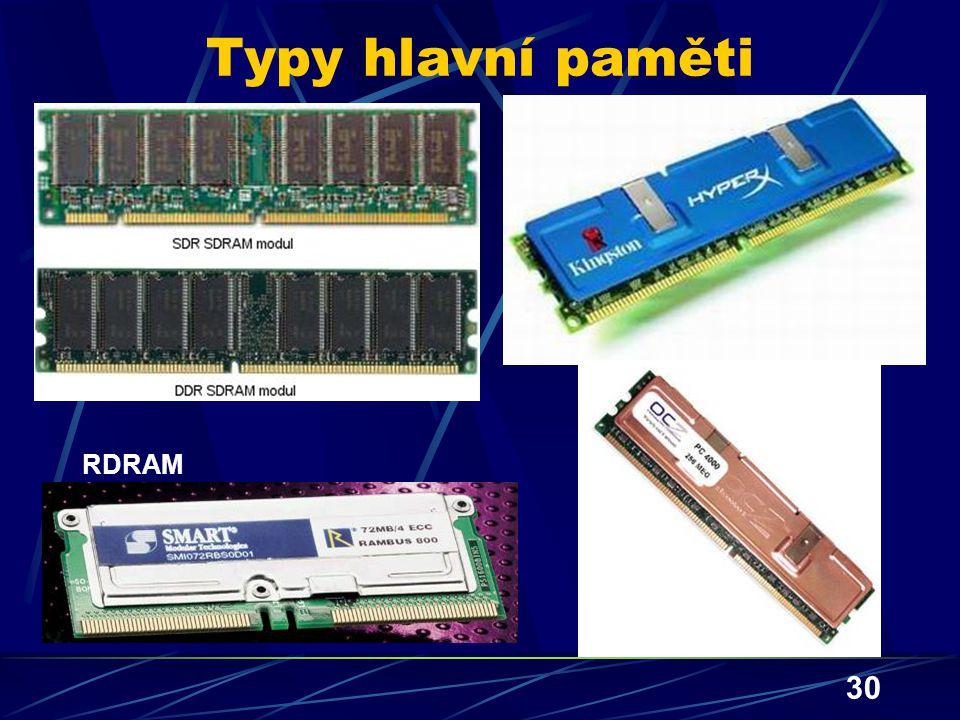 Typy hlavní paměti RDRAM