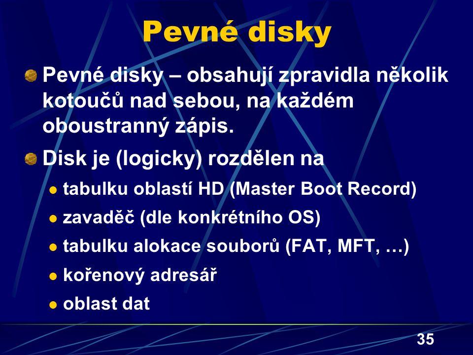 Pevné disky Pevné disky – obsahují zpravidla několik kotoučů nad sebou, na každém oboustranný zápis.