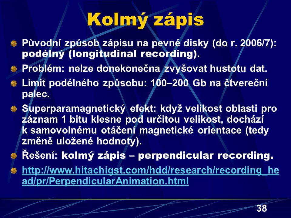 Kolmý zápis Původní způsob zápisu na pevné disky (do r. 2006/7): podélný (longitudinal recording). Problém: nelze donekonečna zvyšovat hustotu dat.
