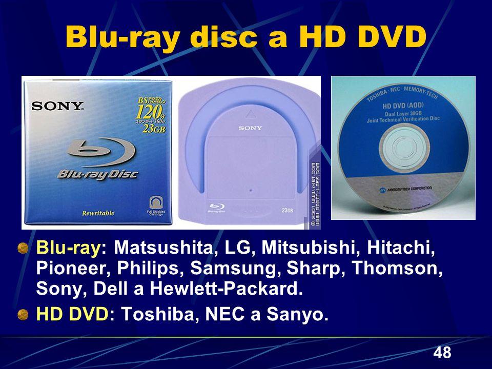 Blu-ray disc a HD DVD Blu-ray: Matsushita, LG, Mitsubishi, Hitachi, Pioneer, Philips, Samsung, Sharp, Thomson, Sony, Dell a Hewlett-Packard.