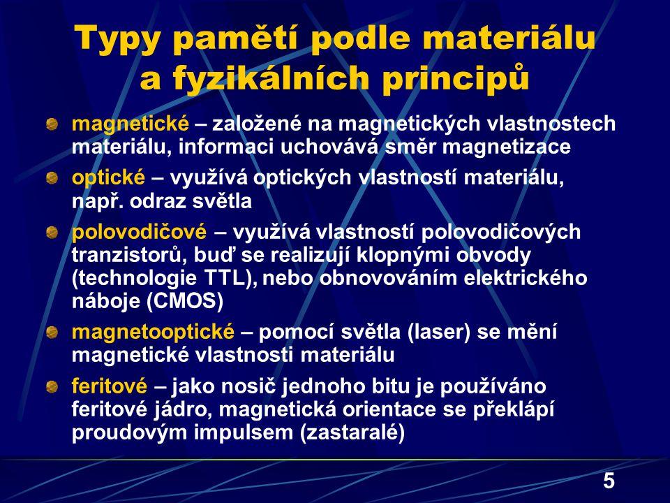Typy pamětí podle materiálu a fyzikálních principů