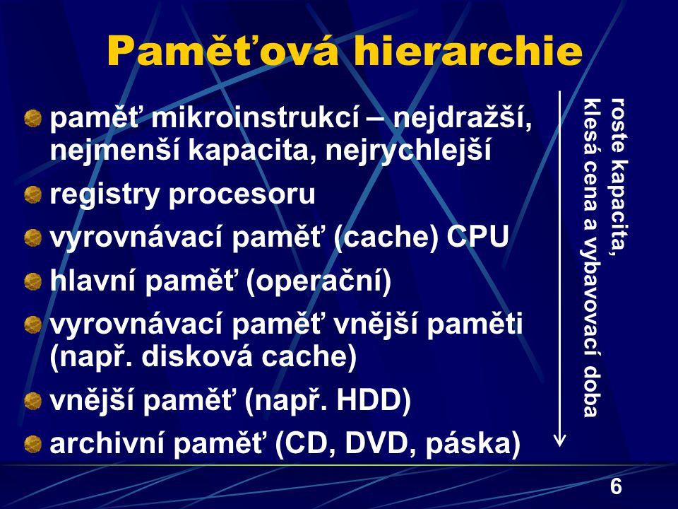 Paměťová hierarchie paměť mikroinstrukcí – nejdražší, nejmenší kapacita, nejrychlejší. registry procesoru.
