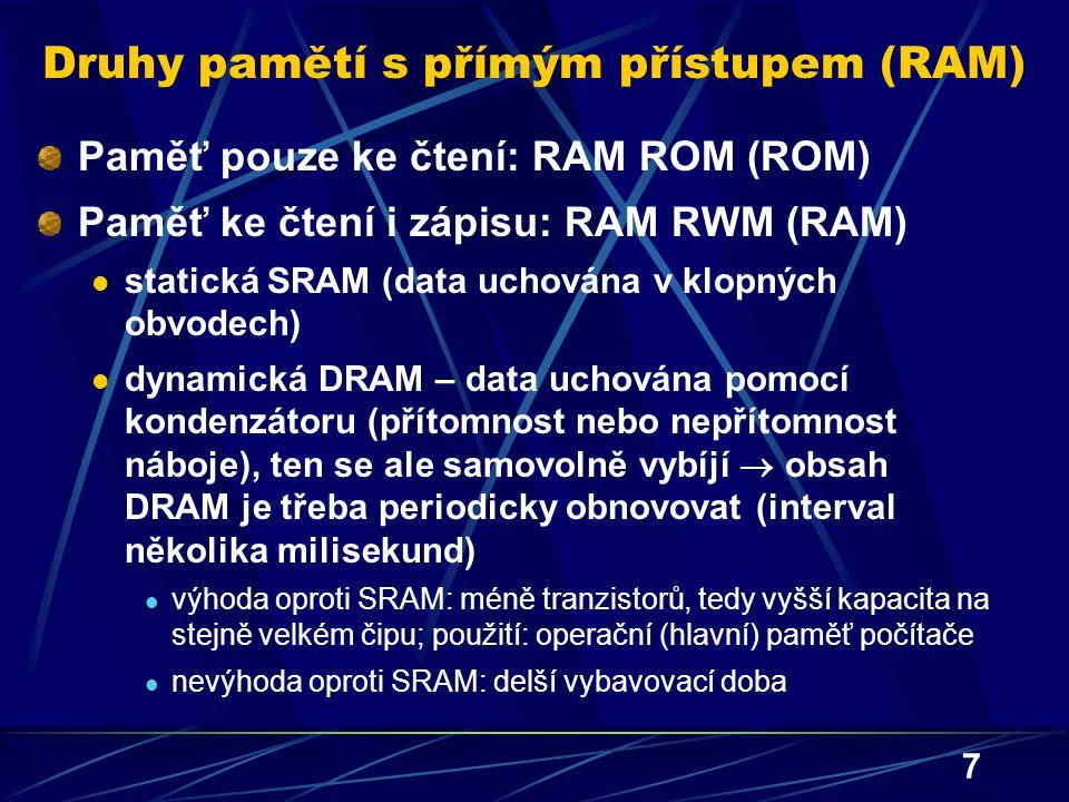 Druhy pamětí s přímým přístupem (RAM)