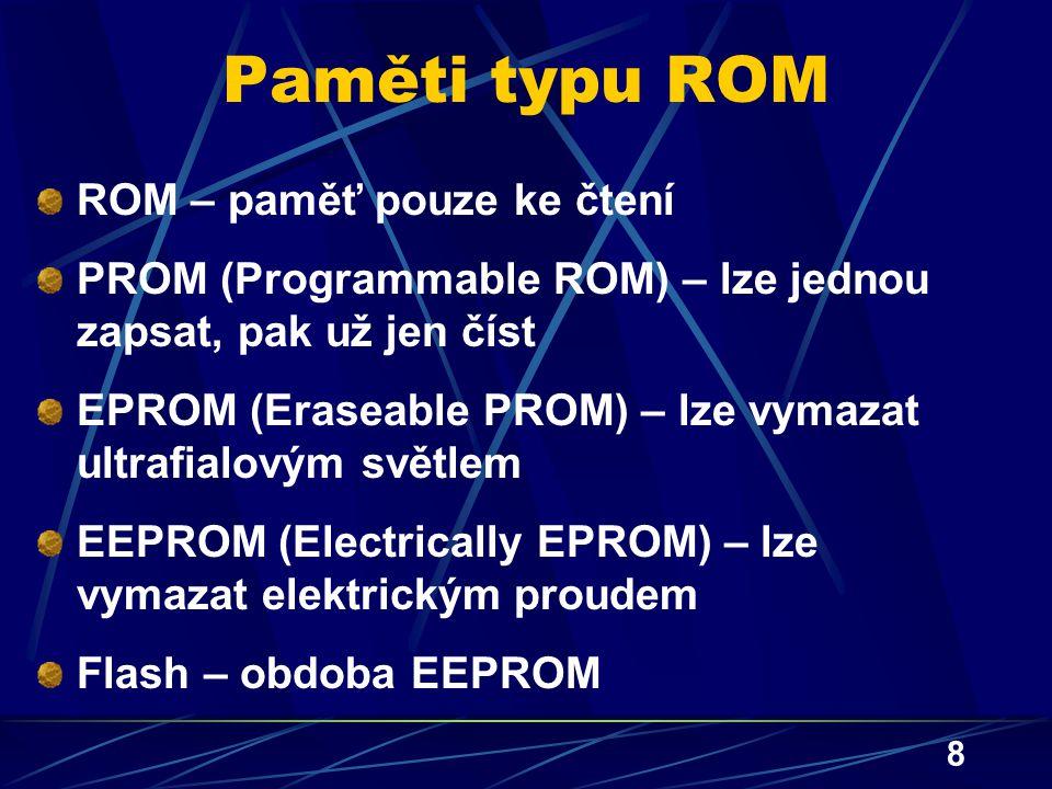 Paměti typu ROM ROM – paměť pouze ke čtení