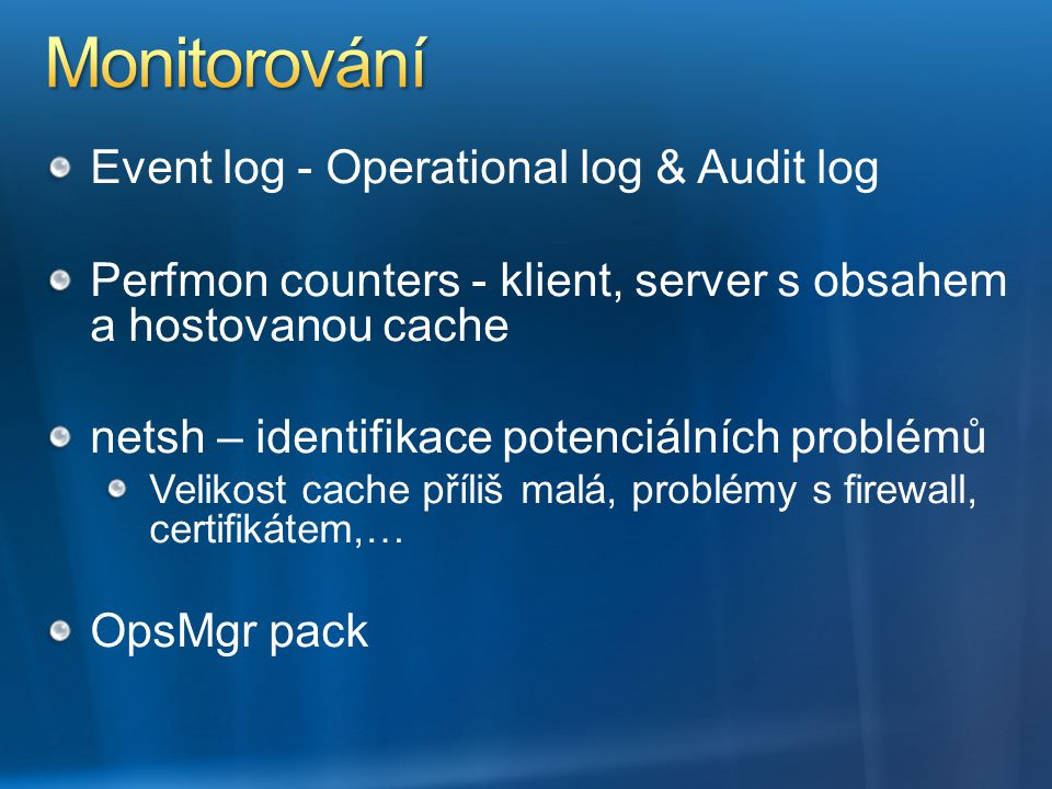 Monitorování Event log - Operational log & Audit log