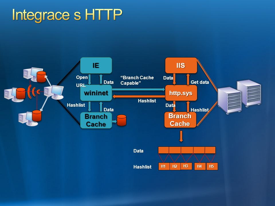 Integrace s HTTP IE IIS wininet Branch Cache Branch Cache http.sys
