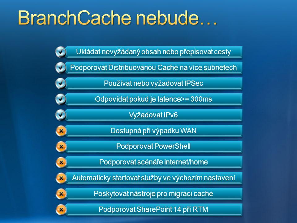 BranchCache nebude… Ukládat nevyžádaný obsah nebo přepisovat cesty
