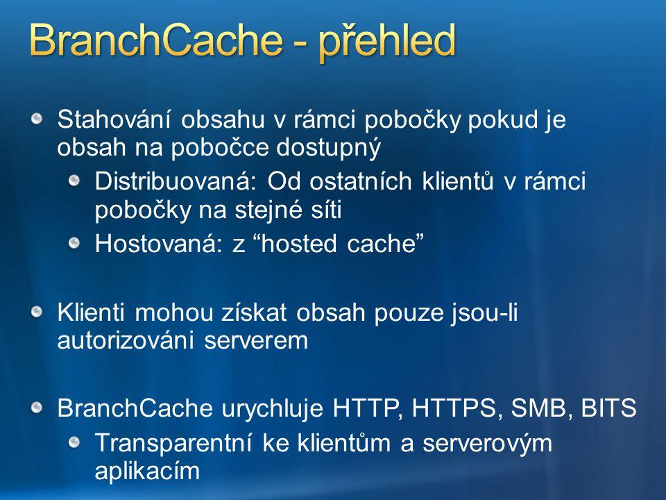 BranchCache - přehled Stahování obsahu v rámci pobočky pokud je obsah na pobočce dostupný.
