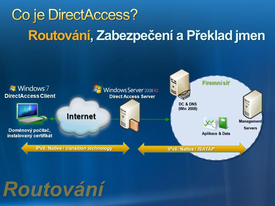 Routování Co je DirectAccess Routování, Zabezpečení a Překlad jmen