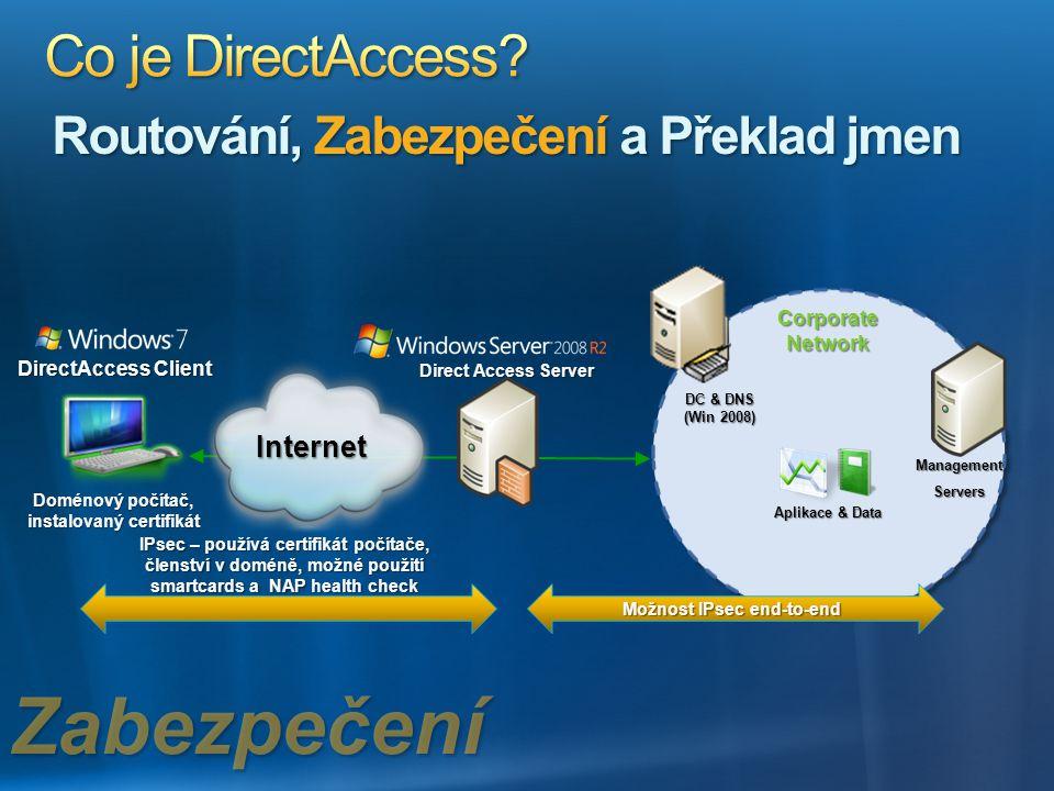Doménový počítač, instalovaný certifikát Možnost IPsec end-to-end