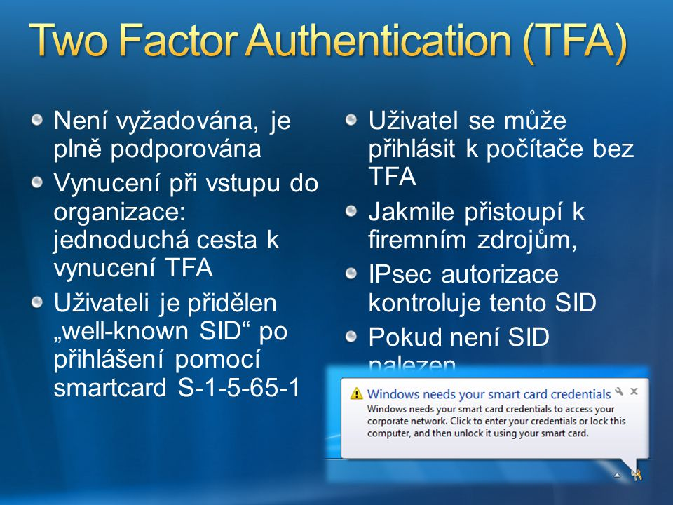Two Factor Authentication (TFA)