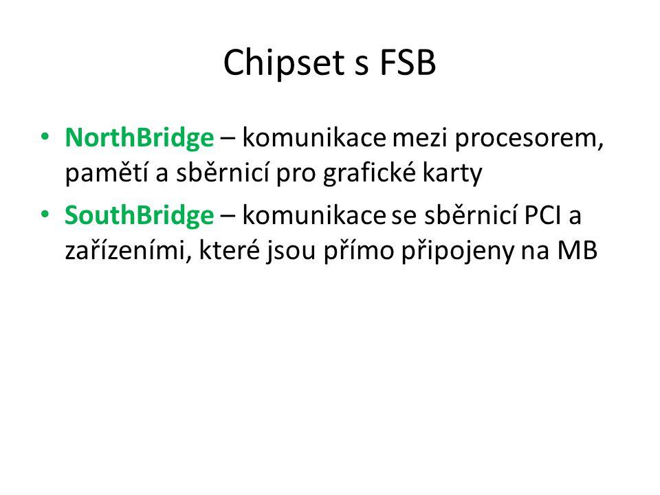 Chipset s FSB NorthBridge – komunikace mezi procesorem, pamětí a sběrnicí pro grafické karty.