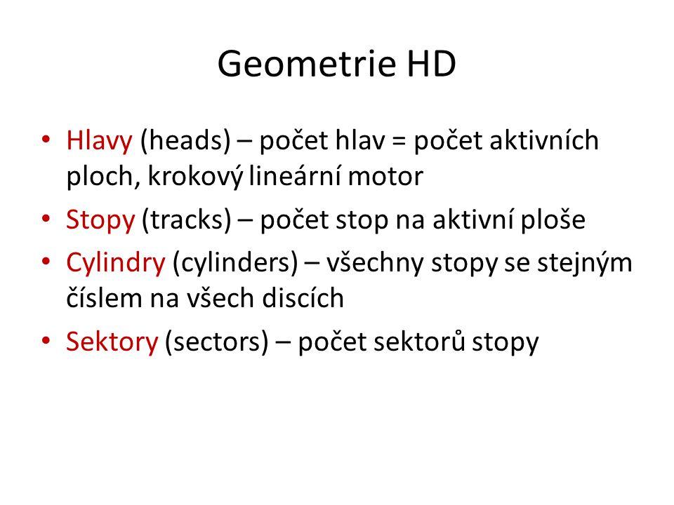 Geometrie HD Hlavy (heads) – počet hlav = počet aktivních ploch, krokový lineární motor. Stopy (tracks) – počet stop na aktivní ploše.