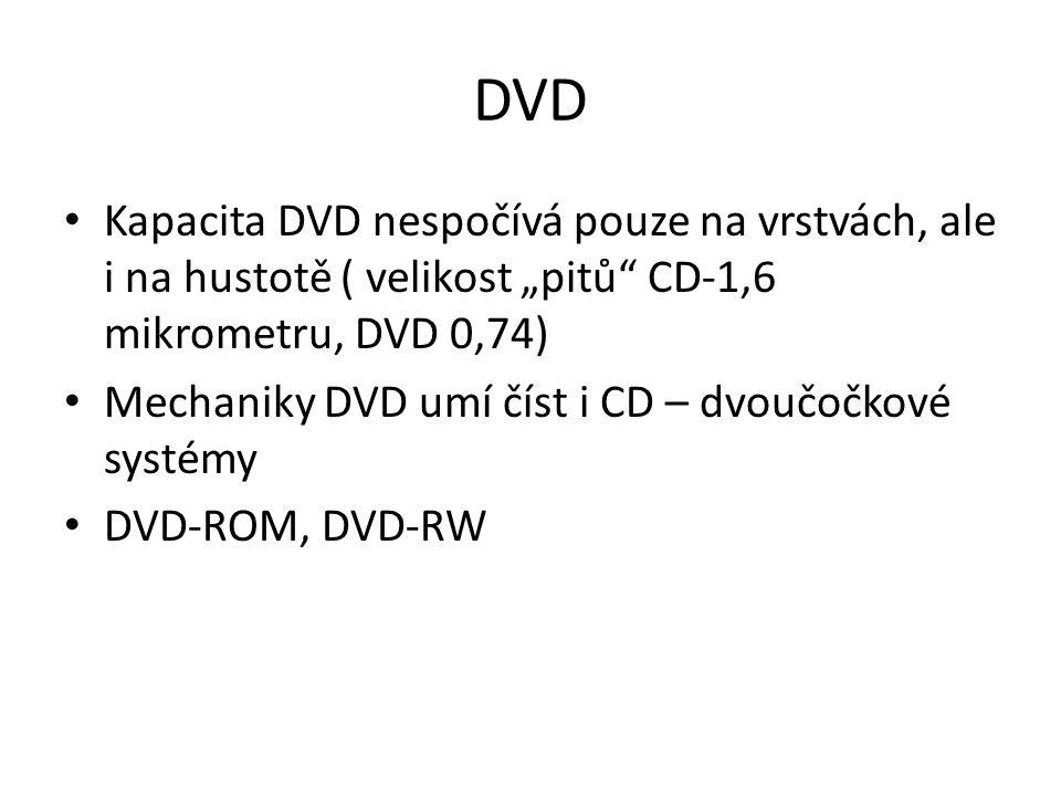 """DVD Kapacita DVD nespočívá pouze na vrstvách, ale i na hustotě ( velikost """"pitů CD-1,6 mikrometru, DVD 0,74)"""