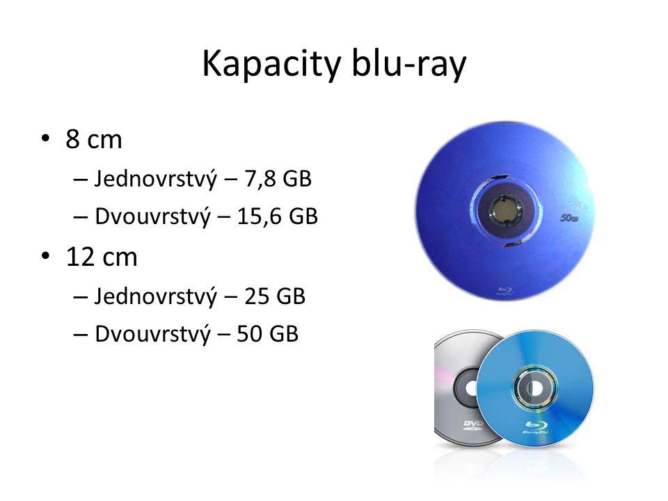 Kapacity blu-ray 8 cm 12 cm Jednovrstvý – 7,8 GB Dvouvrstvý – 15,6 GB