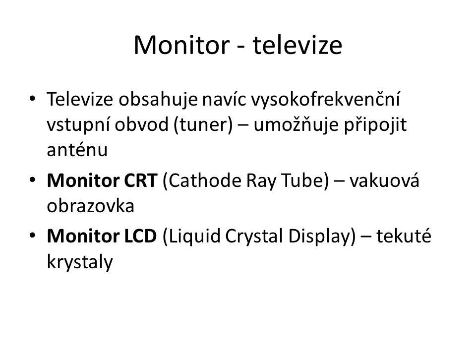 Monitor - televize Televize obsahuje navíc vysokofrekvenční vstupní obvod (tuner) – umožňuje připojit anténu.