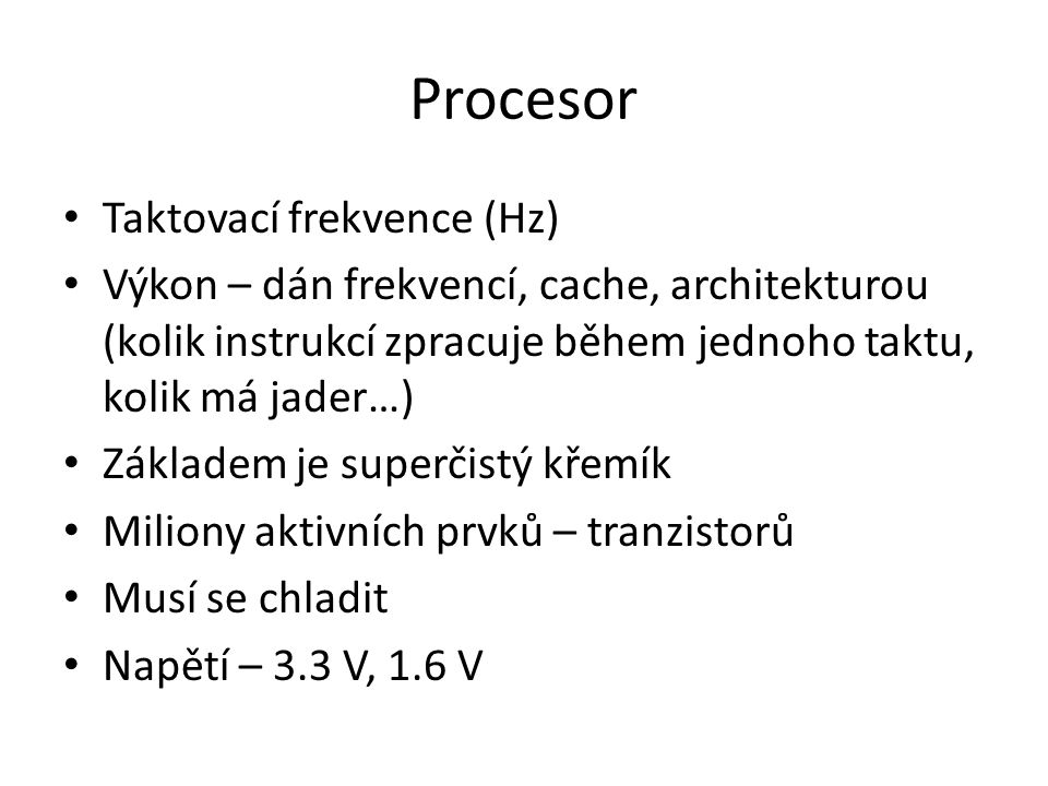 Procesor Taktovací frekvence (Hz)