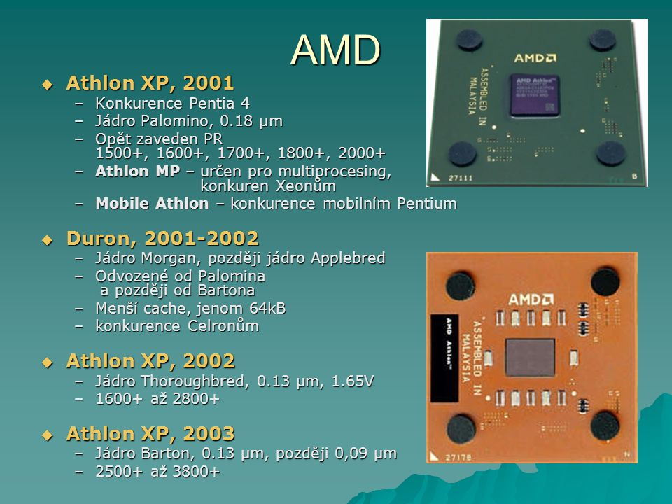 AMD Athlon XP, 2001 Duron, 2001-2002 Athlon XP, 2002 Athlon XP, 2003