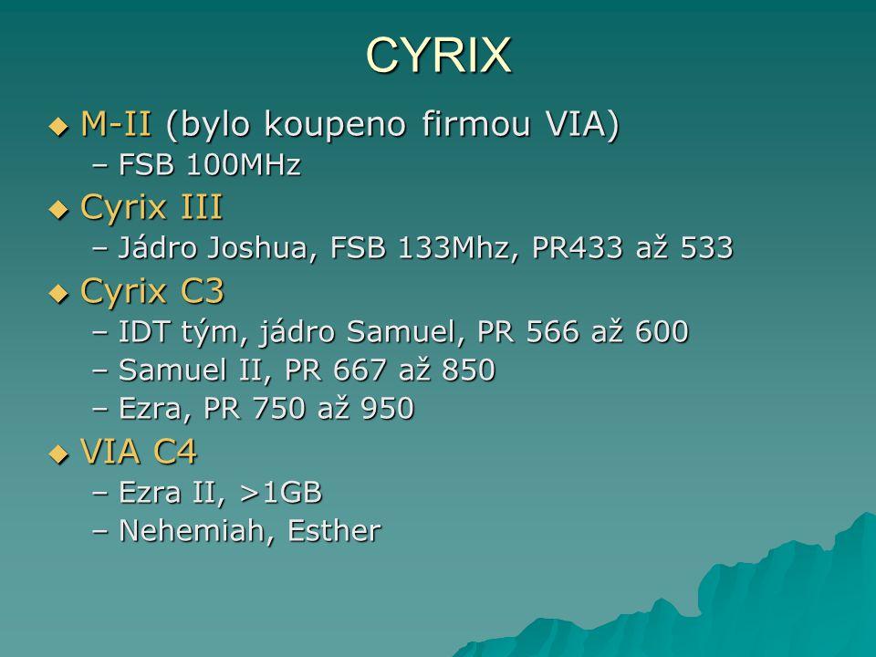 CYRIX M-II (bylo koupeno firmou VIA) Cyrix III Cyrix C3 VIA C4