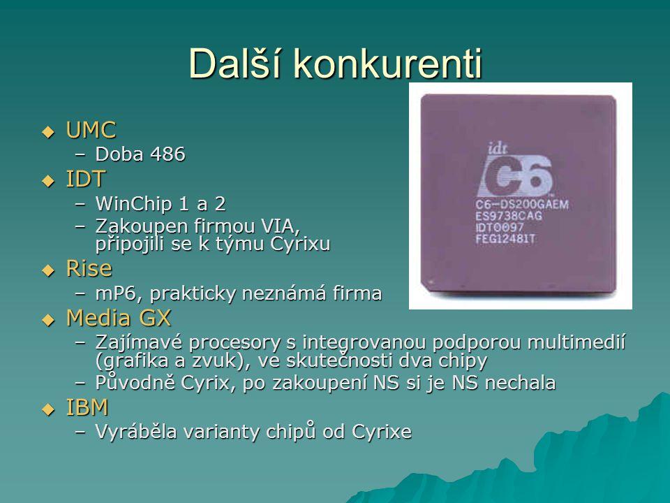 Další konkurenti UMC IDT Rise Media GX IBM Doba 486 WinChip 1 a 2