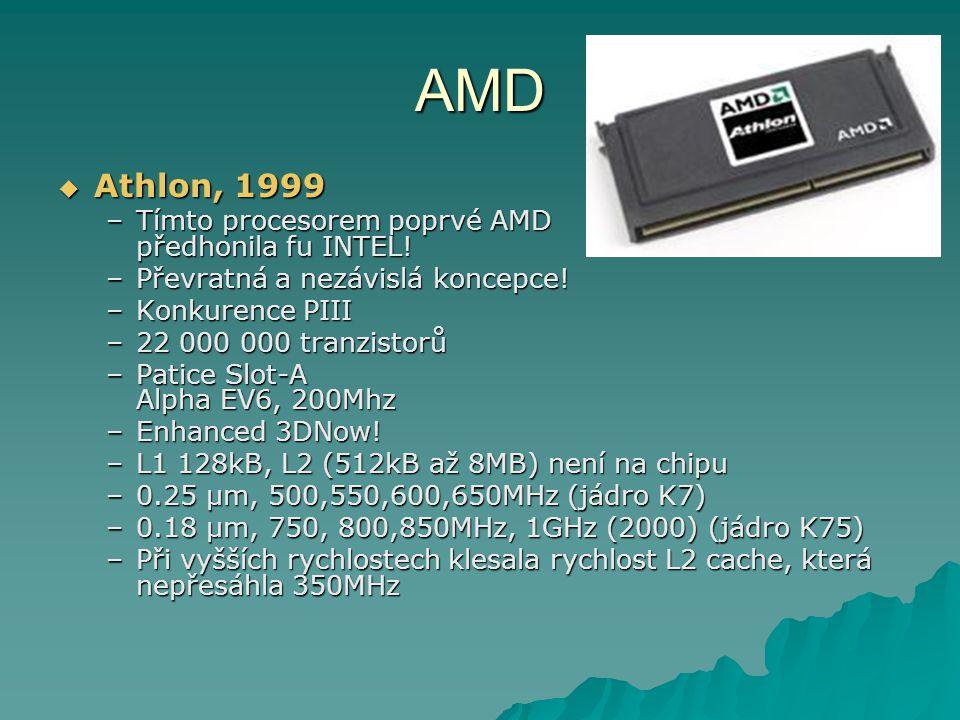 AMD Athlon, 1999 Tímto procesorem poprvé AMD předhonila fu INTEL!
