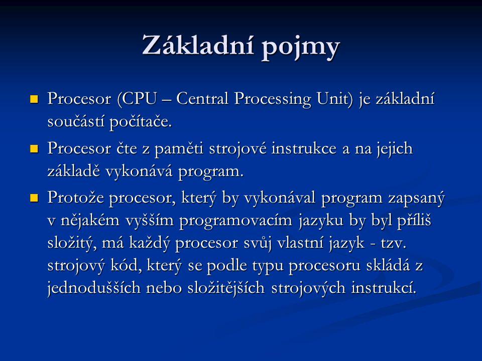 Základní pojmy Procesor (CPU – Central Processing Unit) je základní součástí počítače.