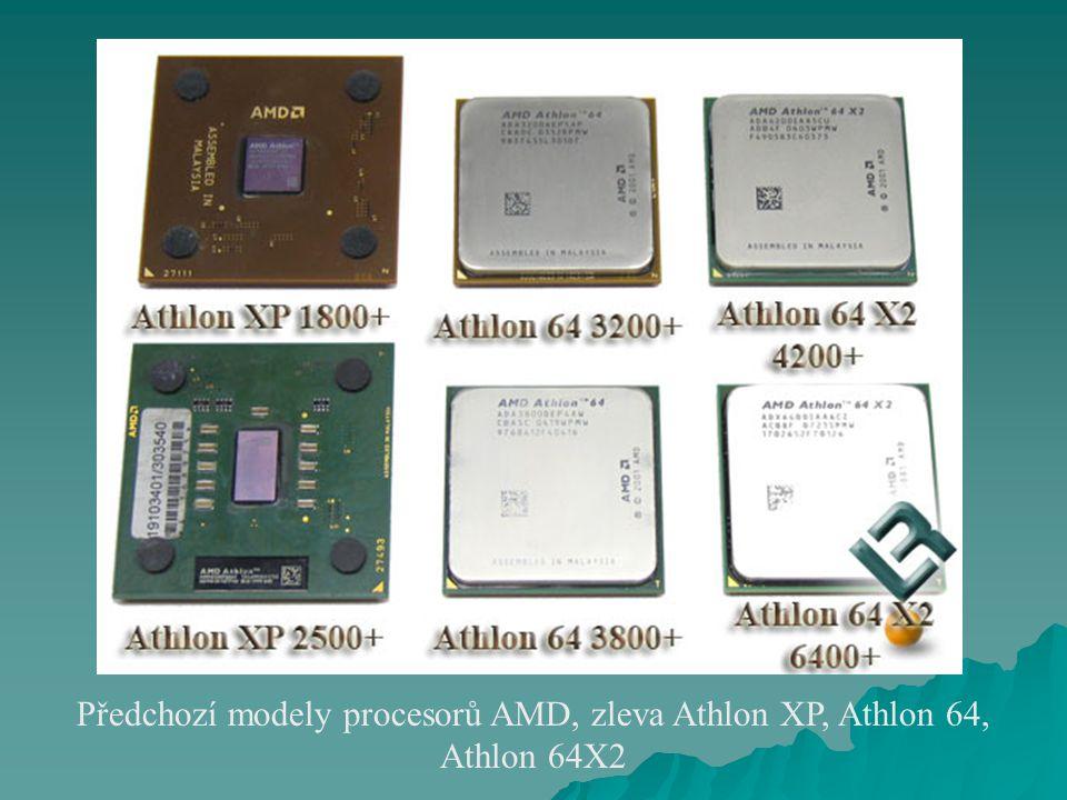 Předchozí modely procesorů AMD, zleva Athlon XP, Athlon 64, Athlon 64X2