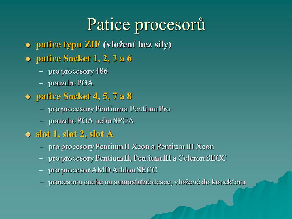 Patice procesorů patice typu ZIF (vložení bez síly)