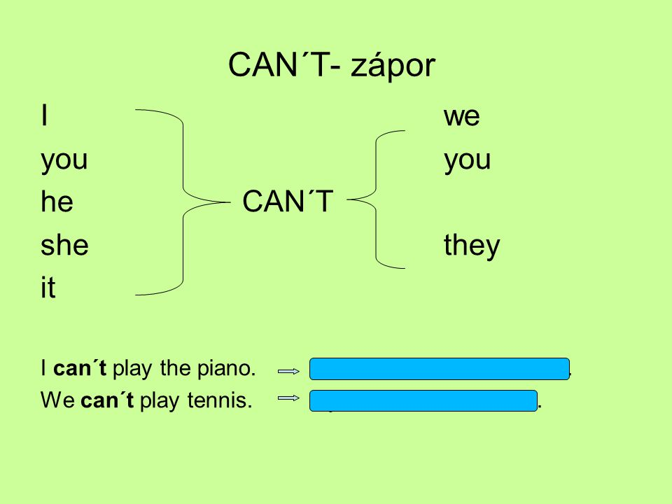 CAN´T- zápor I we you you he CAN´T she they it