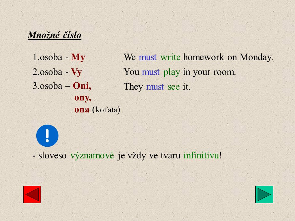 Množné číslo 1.osoba - My. We must write homework on Monday. 2.osoba - Vy. You must play in your room.