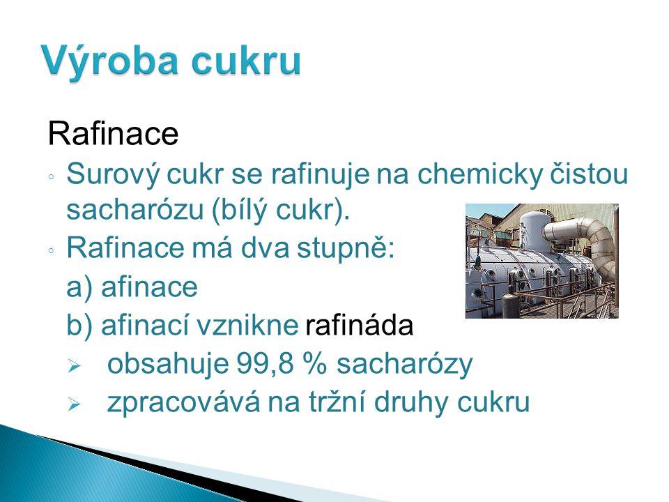 Výroba cukru Rafinace. Surový cukr se rafinuje na chemicky čistou sacharózu (bílý cukr). Rafinace má dva stupně: