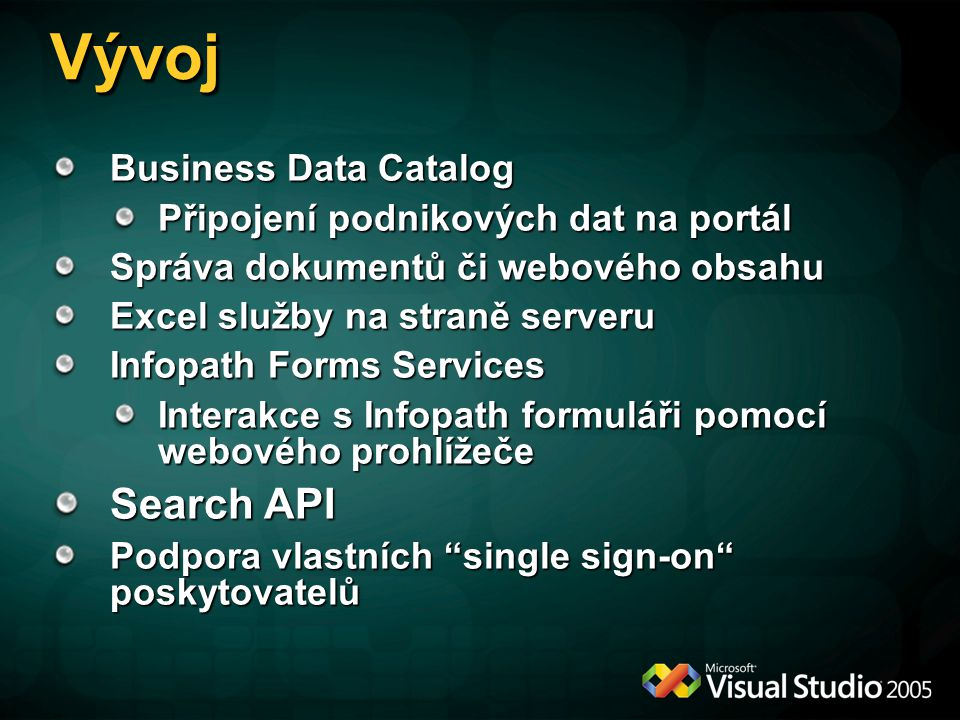 Vývoj Search API Business Data Catalog