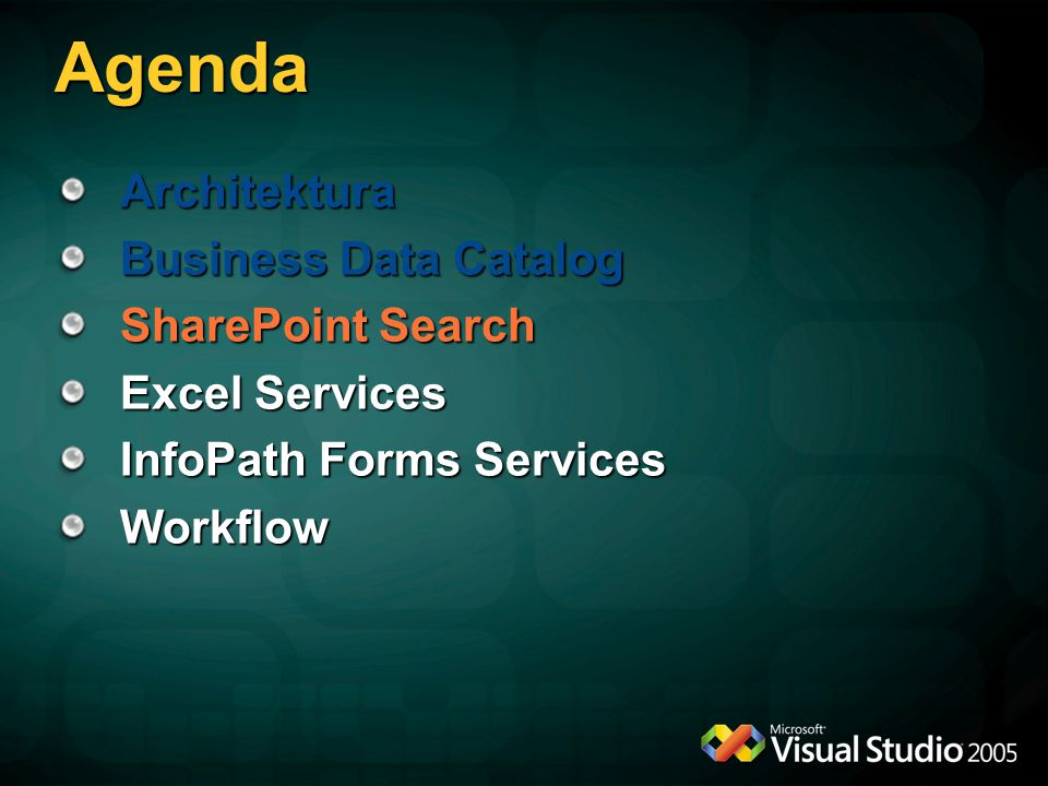 Agenda Architektura Business Data Catalog SharePoint Search