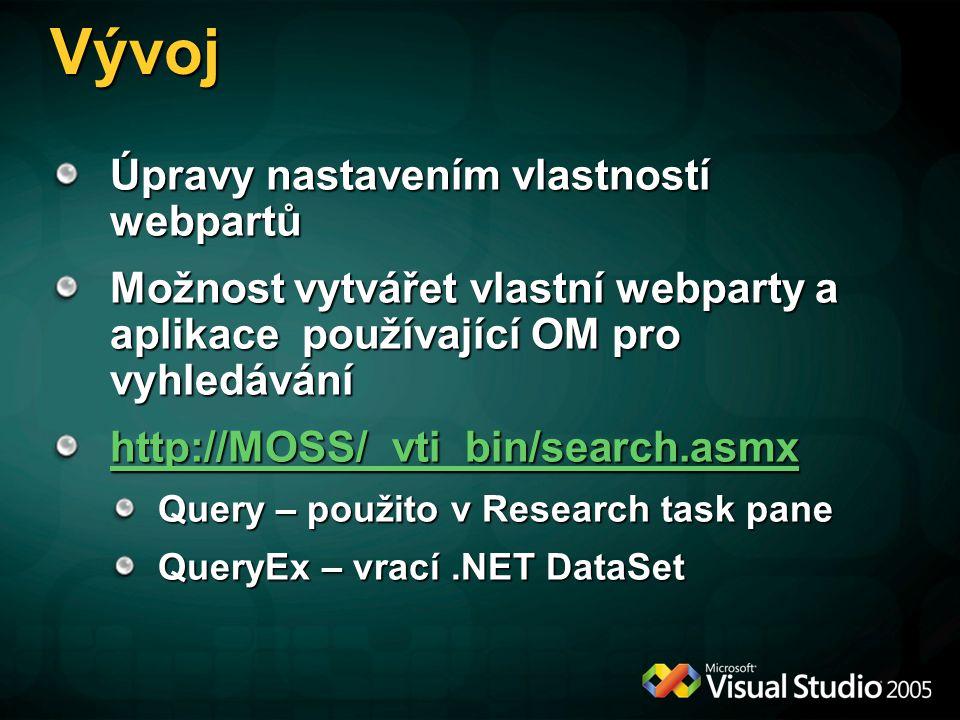 Vývoj Úpravy nastavením vlastností webpartů